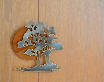 vintage wood and brass tree wall hanging / house of lloyd home decor / mid century modern / retro home decor / nature