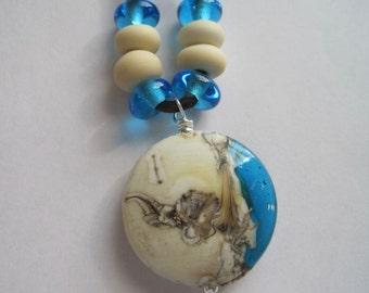 PENDANT LENTIL - CARIBE - 9 Handmade Lampwork Glass Beads - InvPL