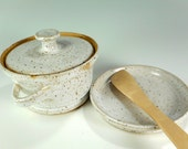 Ceramic butter crock, pottery butter dish with saucer, stoneware butter crock set with spreader knife, pottery butter crock white glaze