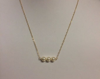 3 pearl gold fill necklace
