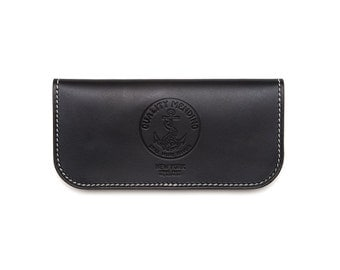 "QMC ""Skill Wins Favor"" Handmade Leather Biker Wallet - Black"