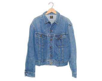 Vintage Lee Jean Jacket 101-J Sanforized Denim Union Made in USA - 44 Regular (OS-DJ-13)