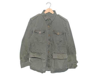 Vintage Army Issue 100% Cotton Warm Weather Button Up Jacket Made in USA - Medium