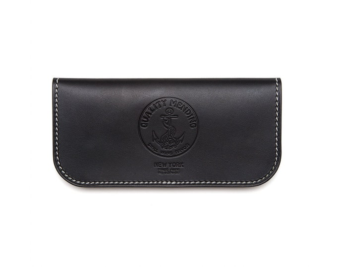 "QMC ""Skill Wins Favor"" Handmade Leather Biker Wallet - Black"
