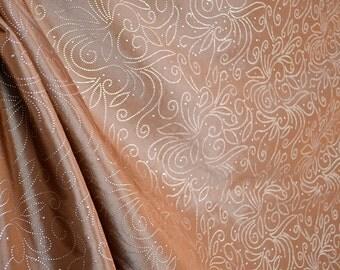 Brown Silver Metallic Curtain Fabric Contessa