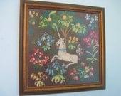 Collectible Vintage Framed Unicorn Needlepoint Whimsical Fantasy