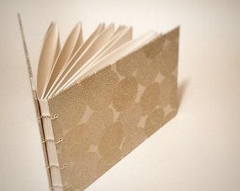 cream with gold mums coptic bound wedding guest book - blank wedding guestbook - small wedding guest book - hand bound wedding guest book