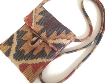 Small Shoulder Bag Southwestern Upholstery Fabric
