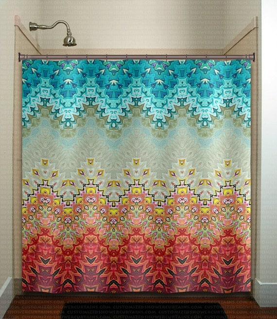 Beautiful Fire And Ice Gray Turquoise Shower Curtain Bathroom
