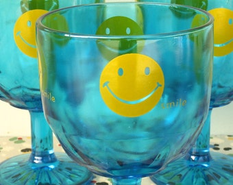 Set of Three Blue Smiley Face Goblets