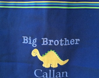 Large big brother bag Appliqued with dinosaur- Personalized at NO additional charge