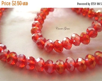 "20% OFF ON SALE Chinese Crystal Red Faceted Rondelle Ab 6mmx4mm Beads, 8"" long, 50 pcs"