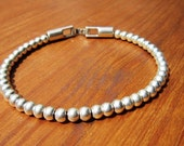 BEADS bracelet, Women's leather bracelet, Silver beaded Bracelet, charm bangle Bracelet, custom handmade jewelry for Her