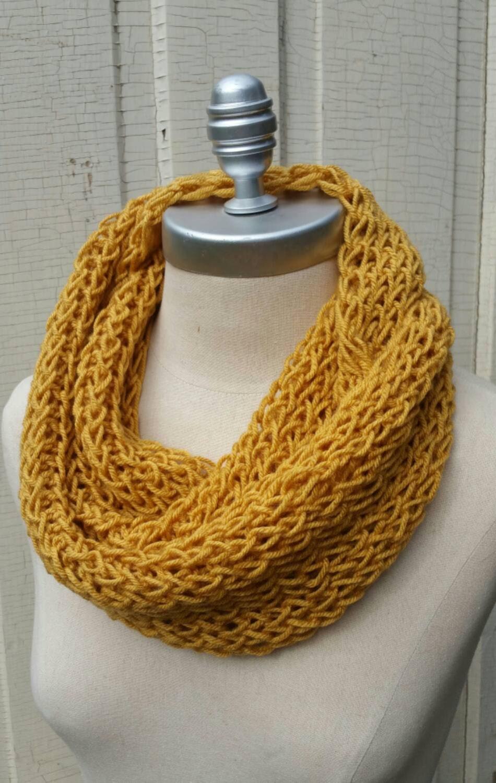 mustard scarf knit infinity scarf gold mustard yellow