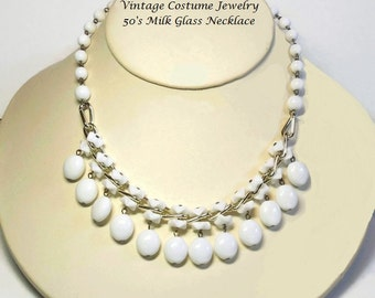 50's Gold Milk Glass Beaded Trim Necklace in Haskell Style with Curb Chain Link - Vintage 50s Couture Costume Jewelry