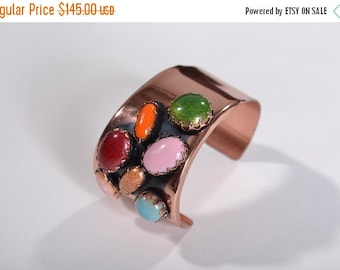 ON SALE 25% OFF Vintage Matisse Cabochon Cuff Bracelet - 1950s Modernist Copper - 1960s Fall Fashions