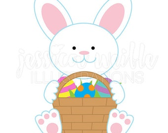 Easter Bunny Cute Digital Clipart, Easter Clip art, Easter Graphics, Bunny with Basket Illustration, #110