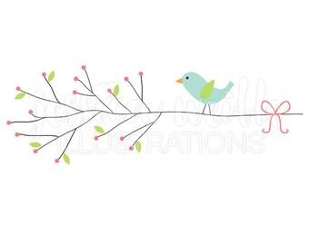 Little Bird Berry Branch Cute Digital Clipart, Cute Bird Clip art, Bird Branch Graphics, Bird on Branch Illustration, #256