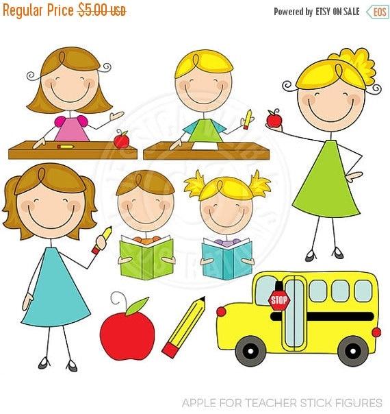 SALE Apple for Teacher Stick Figures Cute Digital Clipart for Card Design, Scrapbooking, and Web Design