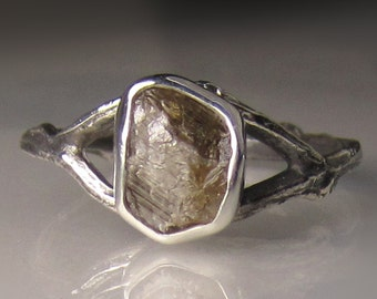 Raw Diamond Twig Ring in Sterling Silver, Engagement Ring - Rough Diamond Ring - 1.65CTS