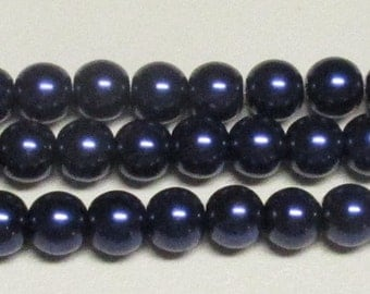 10mm Dark Navy Glass Pearls - 1 strand