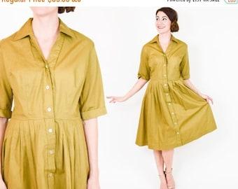 SummerS SALE 50s Cotton Dress | Tan Khaki Shirt Dress | Pleated Day Dress, Medium