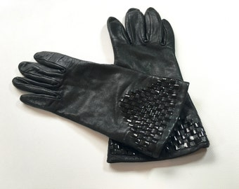 80s Leather Gloves   Black Patent Leather Woven Gloves