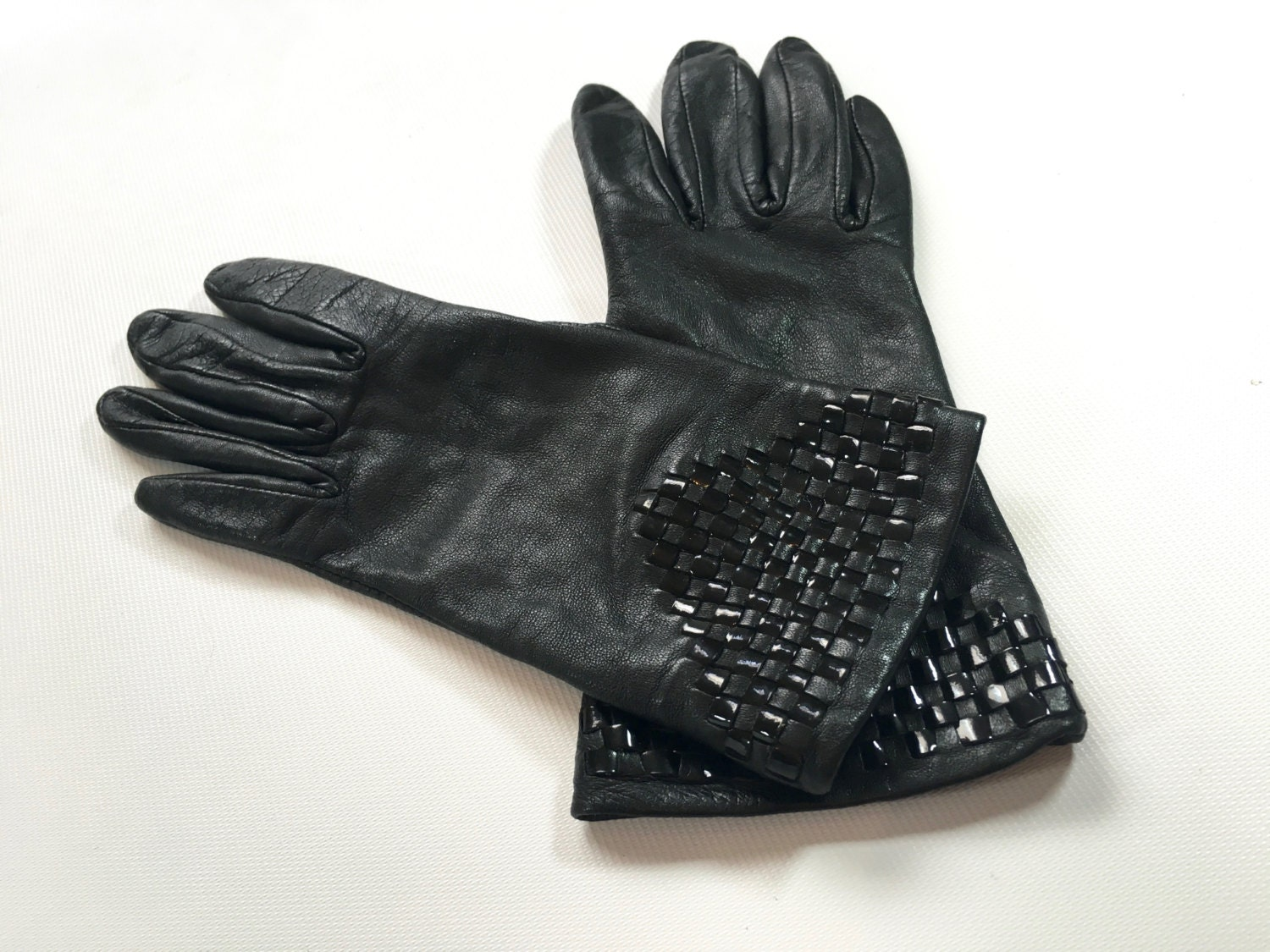 Black patent leather gloves - Black Patent Leather Gloves 10