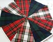 Tartan Mixed  Fabric Garland Bunting 32ft 10m Vintage style Christmas Burns night,Hogmanay  freepost
