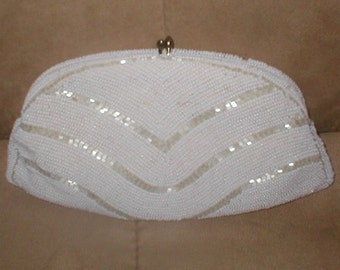 Vintage White & Ivory Beaded  Evening Bag Clutch Purse