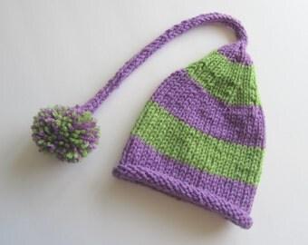 Purple and Green Striped Newborn Knit Baby Hat, Baby Stocking Cap, Baby Elf Hat, Striped Baby Hat, Baby Hat, Newborn Baby Hat, Baby Shower