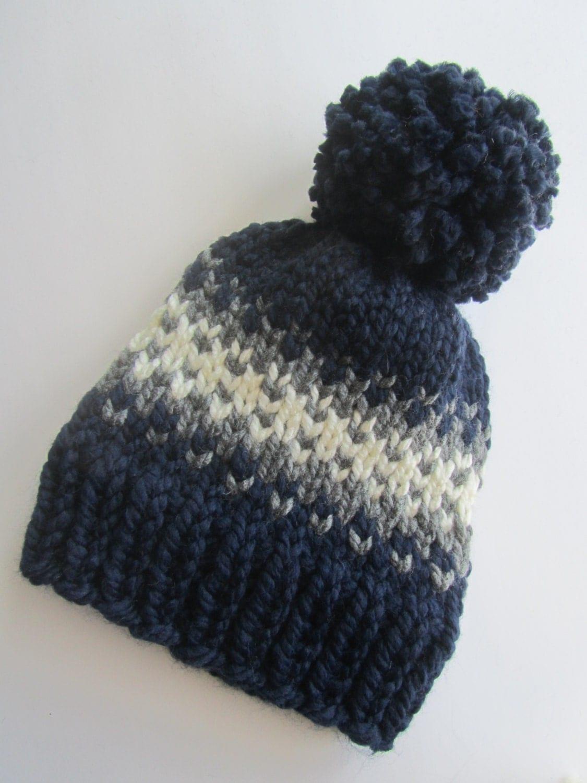Fair Isle Knitting Hat : Navy blue fair isle knit hat