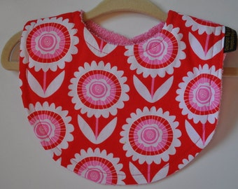 Baby Girl Hot Pink & Red Flower Terry Cloth Snap Bib