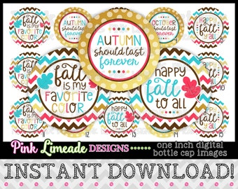 "Happy Fall to All - INSTANT DOWNLOAD 1"" Bottle Cap Images 4x6 - 968"