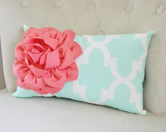 Mint Throw Pillow Cover Decorative Pillows Mint Green and Coral Flower Pillow Cover Mint Couch Pillow Lumbar Pillow Mint Pillow Mint Nursery