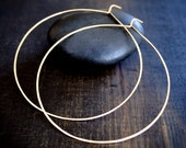 Thin Gold Hoop Earrings, Medium, Large, XL, Really Big
