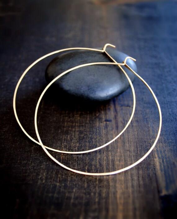 Thin Gold Hoop Earrings Thin Lightweight Hoops Hoop