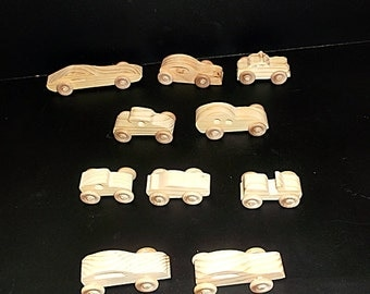 10 Handcrafted Wood Toy Cars   OT-83  unfinished or finished