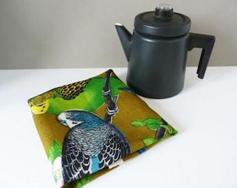 1960's Vintage budgie tea towel 100% Linen
