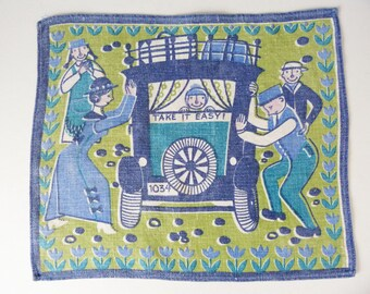 1960's Scandinavian car scene table mat / cloth illustration