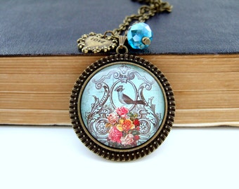 Bird Necklace Bird Cameo Necklace Altered Art Necklace Spring Jewellery Gift for Her Bird Lover Gift