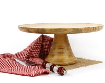 """Wooden 12 1/2"""" Sycamore Cake Stand / Pedestal Cake Plate /Cupcake Stand"""