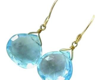 18k Gold Blue Topaz Earrings