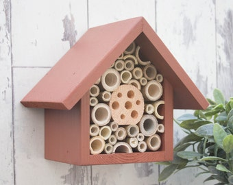Bee House, Bee Hotel, Insect Hotel, Brown. One Tier, Can be personalised