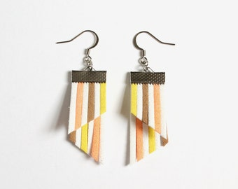 Color Stripes Earrings - White Orange Brown Yellow