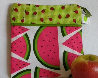 "Reusable, Zippered Sandwich Bag - 7.5"" x 7.5""- Food safe PUL lined, Zippered, Machine Washable"