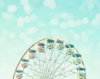 ferris wheel print, baby nursery decor, carnival wall art, toddler room decor, aqua blue Ferris wheel art, wall art photo, toddler wall art