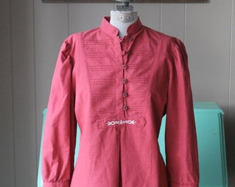 ON SALE 80s Linen blouse Linen shirt Salmon  Lodenfrey Peasant Shirt Cotton and Linen Blouse Small Medium Blouse
