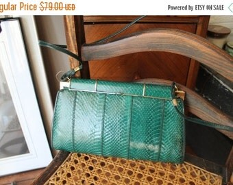 ON SALE 70s Jade Green Snakeskin Clutch Purse with shoulder strap Emerald Green and Gold hardware