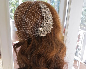 Wedding  Bridal Veil, Rhinestone Blusher Veil, Art Nouveau Veil